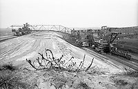Miniera di superficie Jänschwalde, nella Bassa Lusazia, per l'estrazione della lignite. Piante secche sul terreno arido ed enormi macchinari pesanti --- Lignite surface mining in Jänschwalde, in the Lower Lusatia. Dry plants on the dried ground and huge machines