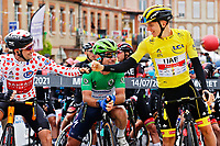 14th July 2021, Muret,  France; POGACAR Tadej (SLO) of UAE TEAM EMIRATES, CAVENDISH Mark (GBR) of DECEUNINCK - QUICK-STEP, POELS Wouter (NED) of BAHRAIN VICTORIOUS ready for stage 17 of the 108th edition of the 2021 Tour de France cycling race, a stage of 178,4 kms between Muret and Saint-Lary-Soulan.