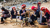 An all day endeavor at this same riverside location each day, these members of the Red Dzao hill tribe in northwestern Vietnam, embroider beautiful garmets for family and fellow tribeswomen.
