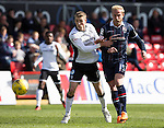Ross County v St Johnstone…..30.04.16  Global Energy Stadium, Dingwall<br />David Wotherspoon and Andrew Davies<br />Picture by Graeme Hart.<br />Copyright Perthshire Picture Agency<br />Tel: 01738 623350  Mobile: 07990 594431