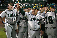February 20, 2010:  Head Coach Tony Rossi of the Siena Saints explains the ground rules before the season opener at Melching Field at Conrad Park in DeLand, FL.  Siena defeated Stetson by the score of 8-4.  Photo By Mike Janes/Four Seam Images
