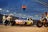 Feb 22, 2009; Fontana, CA, USA; NASCAR Sprint Cup Series driver Greg Biffle pits during the Auto Club 500 at Auto Club Speedway. Mandatory Credit: Mark J. Rebilas-