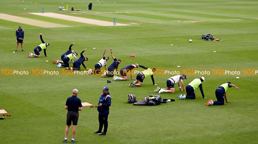 Kent second XI squad are put through their paces after being drafted in to play after the entire first team squad are forced to self isolate due to a first team player contracting Covid during Kent CCC vs Sussex CCC, LV Insurance County Championship Group 3 Cricket at The Spitfire Ground on 11th July 2021
