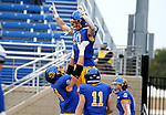 BROOKINGS, SD - MAY 8: Jaxon Janke #10 of the South Dakota State Jackrabbits celebrates a touchdown against the Delaware Fightin Blue Hens on May 8, 2021 in Brookings, South Dakota. (Photo by Dave Eggen/Inertia)