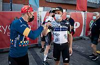 Sonny Colbrelli (ITA/Bahrain - Victorious) & Victor Campenaerts (BEL/Qhubeka NextHash) backstage ahead of the final podium ceremony<br /> <br /> 17thBenelux Tour 2021 (2.UWT)<br /> (Final) Stage 7: from Namur to Geraardsbergen (178km)<br /> <br /> ©kramon