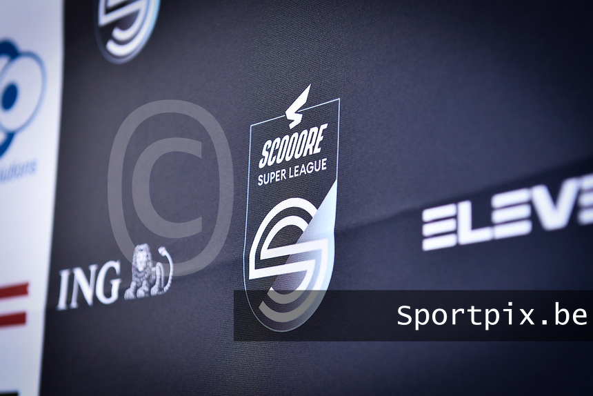 Scooore Super League logo pictured on a banner during a female soccer game between Zulte Waregem and the KAA Gent Ladies on the fourth matchday of the 2020 - 2021 season of Belgian Scooore Womens Super League , saturday 10 October 2020  in Waregem , Belgium . PHOTO SPORTPIX.BE | SPP | DAVID CATRY