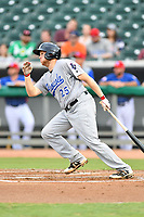 Pensacola Blue Wahoos first baseman Gavin LaValley (25) swings at a pitch during a game against the Tennessee Smokies at Smokies Stadium on August 30, 2018 in Kodak, Tennessee. The Blue Wahoos defeated the Smokies 5-1. (Tony Farlow/Four Seam Images)