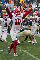 Youngstown State safety Kyle Hegedus celebrates a missed field goal at the end of regulation. The Pitt Panthers defeated the Youngstown State Penguins 28-21 in overtime at Heinz Field, Pittsburgh, Pennsylvania on September 02, 2017.