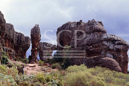 Parana State, Brazil. Natural rock formations at Vila Velha State Park; arenite sandstone stacks, etc.