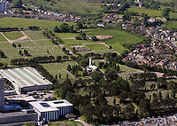Aerial view of Morriston Crematorium and Cemetery in Swansea south Wales