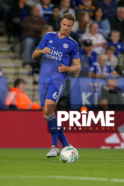 Jonny Evans of Leicester City during the English League Cup Round 2 Group North match between Leicester City and Fleetwood Town at the King Power Stadium, Leicester, England on 28 August 2018. Photo by David Horn.