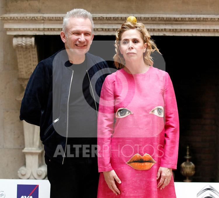 "Designers Jean Paul Gaultier and Agatha Ruiz de la Prada attends the press conference of the ""X Prix Dialogo"" in the France Ambassador residence in Madrid, Spain. June 4, 2013. (Victor J Blanco/Alterphotos)"