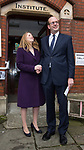 © Joel Goodman - 07973 332324 . 20/11/2014 . Kent , UK . ) . UKIP candidate Mark Reckless (r) with his wife Catriona Reckless , arriving at a polling station at Baptists Church Institute on Crow Lane , Rochester , to cast his vote . The Rochester and Strood by-election campaign following the defection of sitting MP Mark Reckless from Conservative to UKIP . Photo credit : Joel Goodman