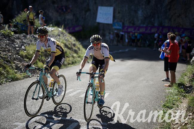 Wilco Kelderman (NLD/LottoNL-Jumbo) & Bert-Jan Lindeman (NLD/LottoNL-Jumbo) up the Lacets du Grand Colombier (Cat1/891m/8.4km/7.6%)<br /> <br /> stage 15: Bourg-en-Bresse to Culoz (160km)<br /> 103rd Tour de France 2016