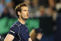 Andy Murray (GB), MARCH 06, 2016 - Tennis : Andy Murray (GB) shows emotion during the Davis Cup by PNB Paribas , World Group first round fourth rubber between Great Britain and Japan at The Barclaycard Arena, Birmingham, United Kingdom. (Photo by Rob Munro/AFLO)