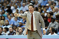 CHAPEL HILL, NC - JANUARY 11: Head coach Brad Brownell of Clemson University during a game between Clemson and North Carolina at Dean E. Smith Center on January 11, 2020 in Chapel Hill, North Carolina.
