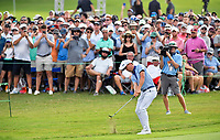 5th September 2021: Atlanta, Georgia, USA;  Justin Thomas chips the ball out of the rough onto the 18th green during the final round of the PGA Tour Championship on Sunday, September 5, 2021 at East Lake Golf Club in Atlanta, GA. (Photo by Austin McAfee/Icon Sportswire)