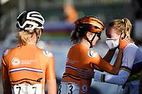 Picture by Simon Wilkinson/SWpix.com - 26/09/2020 - Cycling - UCI 2020 Road World Championships IMOLA - EMILIA-ROMAGNA ITALY - Road Race Women Elite - Anna Van Der Breggen of The Netherlands celebrates winning the Women's Elite Road Race with Amy Pieters of The Netherlands. - SANTINI