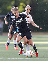 New York Fury defender Kim Yokers (6) controls the ball at midfield. In a Women's Premier Soccer League Elite (WPSL) match, the Boston Breakers defeated New York Fury, 2-0, at Dilboy Stadium on June 23, 2012.
