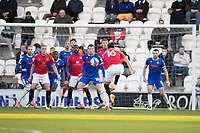 John O'Sullivan of Morecambe volleys in the opening goal during Colchester United vs Morecambe, Sky Bet EFL League 2 Football at the JobServe Community Stadium on 19th December 2020