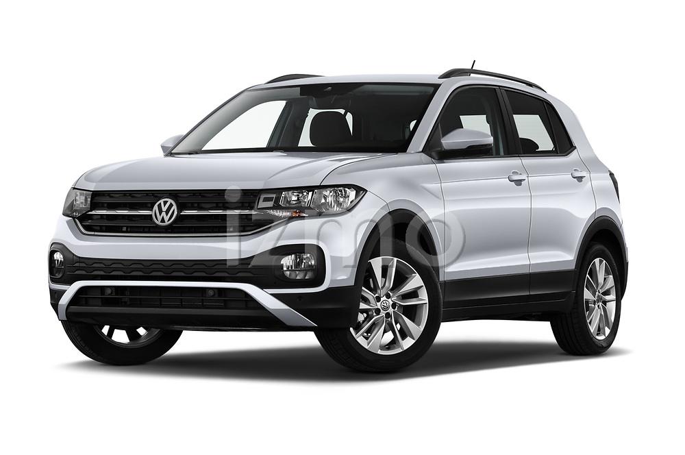Stock pictures of low aggressive front three quarter view of 2019 Volkswagen T-Cross Life 5 Door SUV Low Aggressive