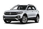 Stock pictures of low aggressive front three quarter view of 2019 Volkswagen T-Cross Life 5 Door SUV Low Aggressive