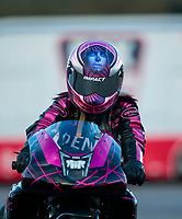 Nov 1, 2020; Las Vegas, Nevada, USA; NHRA pro stock motorcycle rider Angie Smith after winning the NHRA Finals at The Strip at Las Vegas Motor Speedway. Mandatory Credit: Mark J. Rebilas-USA TODAY Sports