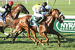 """September 27, 2014: Main Sequence with Rajiv Maragh win the 38th running of the $6000,000 Grade I Joe Hirsch Turf Classic, a """"Win and You're In""""  3-year olds & up, going 1 1/2 on the turf, at Belmont Park. Trainer: H. Graham Motion . Owner: Flaxman Stable . Sue Kawczynski/ESW/CSM"""