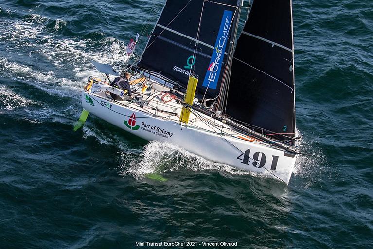 Galway solo sailor Yannick Lemonnier at the start of the 2021 Mini Transat Eurochef 2021 Race