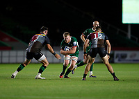 9th September 2020; Twickenham Stoop, London, England; Gallagher Premiership Rugby, London Irish versus Harlequins; Chris Robshaw of Harlequins is challenged by Scott Baldwin and James Lang of Harlequins