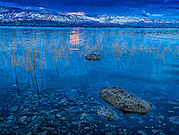 Fine Art Morning Scenic of Okanagan Lake in the early morning hours. A very peaceful morning when the lighting is very blue, and the lake is very calm.