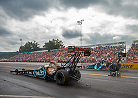 Sep 15, 2018; Mohnton, PA, USA; NHRA top fuel driver Dom Lagana (near) races alongside Scott Palmer during qualifying for the Dodge Nationals at Maple Grove Raceway. Mandatory Credit: Mark J. Rebilas-USA TODAY Sports