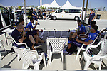 Movistar Team riders relax before Stage 2 of the 2021 UAE Tour an individual time trial running 13km around  Al Hudayriyat Island, Abu Dhabi, UAE. 22nd February 2021.  <br /> Picture: Eoin Clarke | Cyclefile<br /> <br /> All photos usage must carry mandatory copyright credit (© Cyclefile | Eoin Clarke)