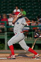 May 6 2010: Cody Overbeck (5) of the Clearwater Threshers during a game vs. the Daytona Cubs at Jackie Robinson Ballpark in Daytona Beach, Florida. Clearwater, the Florida State League High-A affiliate of the Philadelphia Phillies, won the game against Daytona, affiliate of the Chicago Cubs, by the score of 8-3.  Photo By Scott Jontes/Four Seam Images