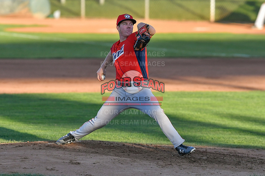 Orem Owlz starting pitcher Sam Pastrone (8) delivers a pitch to the plate against the Ogden Raptors in Pioneer League action at Lindquist Field on September 9, 2016 in Ogden, Utah. This was Game 1 of the Southern Division playoff. Orem defeated Ogden 6-5. (Stephen Smith/Four Seam Images)