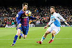 Lionel Messi of FC Barcelona (L) fights for the ball with Emre Colak of RC Deportivo La Coruna (R) during the La Liga 2017-18 match between FC Barcelona and Deportivo La Coruna at Camp Nou Stadium on 17 December 2017 in Barcelona, Spain. Photo by Vicens Gimenez / Power Sport Images