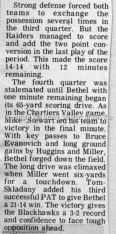 Uniontown PA:  Bethel Park went 65 yards in the final minute to win the game 21-14.  Clark Miller raced 6 yards for the final and winning score.