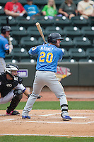 Billy McKinney (20) of the Myrtle Beach Pelicans at bat against the Winston-Salem Dash at BB&T Ballpark on May 10, 2015 in Winston-Salem, North Carolina.  The Pelicans defeated the Dash 4-3.  (Brian Westerholt/Four Seam Images)