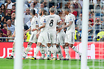 Real Madrid Karim Benzema, Toni Kroos and Raphael Varane celebrating a goal during UEFA Champions League match between Real Madrid and A.S.Roma at Santiago Bernabeu Stadium in Madrid, Spain. September 19, 2018. (ALTERPHOTOS/Borja B.Hojas)