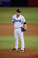 Tampa Tarpons relief pitcher Hobie Harris (23) looks in for the sign during the second game of a doubleheader against the Lakeland Flying Tigers on May 31, 2018 at George M. Steinbrenner Field in Tampa, Florida.  Lakeland defeated Tampa 3-2.  (Mike Janes/Four Seam Images)