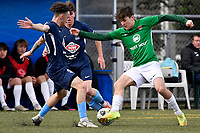 Jonty Roubos of the Wairarapa United competes for the ball with Noah Tipene-Clegg of the North Wellington FC during the Central League Football -  North Wellington FC v Wairarapa United at Alex Moore Park ( Alex Moore Artificial) / Johnsonville / New Zealand on Saturday 29 May 2021.<br /> Copyright photo: Masanori Udagawa /  www.photosport.nz