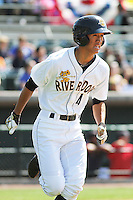 Charleston RiverDogs infielder Gosuke Katoh #4 at bat during a game against the Greenville Drive at Joseph P. Riley Jr. Ballpark  on April 9, 2014 in Charleston, South Carolina. Greenville defeated Charleston 6-3. (Robert Gurganus/Four Seam Images)