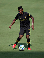 LOS ANGELES, CA - AUGUST 22: Jose Cifuentes #11 of the LAFC moves with the ball during a game between Los Angeles Galaxy and Los Angeles FC at Banc of California Stadium on August 22, 2020 in Los Angeles, California.