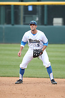 Sean Bouchard (5) of the of UCLA Bruins in the field at first base during a game against the University of San Diego Toreros at Jackie Robinson Stadium on March 4, 2017 in Los Angeles, California.  USD defeated UCLA, 3-1. (Larry Goren/Four Seam Images)