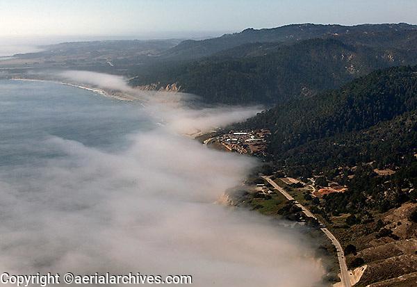 aerial photograph fog coastal Santa Cruz county, California