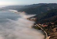 aerial photograph fog coastal Santa Cruz county, California