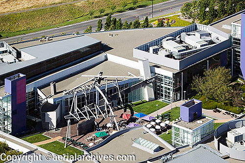 aerial photograph Google headquarters in 2000 when it was still occupied by Silicon Graphics, Mountain View, San Clara county, California