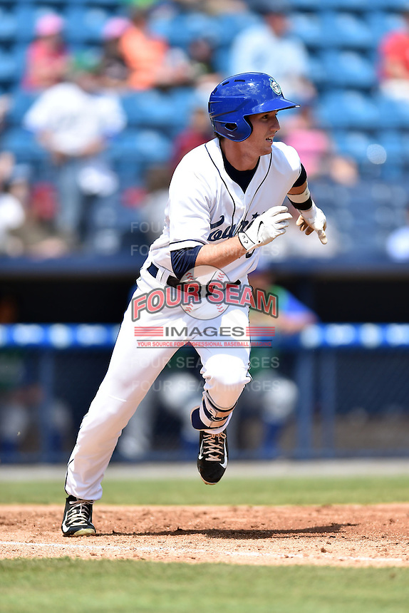 Asheville Tourists right fielder Drew Weeks (10) runs to first during a game against the Lexington Legends on May 3, 2015 in Asheville, North Carolina. The Legends defeated the Tourists 6-3. (Tony Farlow/Four Seam Images)