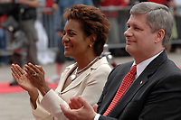 Ottawa (ON) CANADA, July 1st, 2007 -<br /> <br /> Michaelle Jean  ;  Governor General (L) and<br /> Stephen Harper, Prime Minister of canada (R) applaud<br />  during<br /> Canada day celebration in the national capital.<br /> photo : (c)  Michel Karpoff - Images Distribution