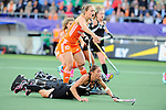 The Hague, Netherlands, June 05: Krystal Forgesson #3 of New Zealand in action during the field hockey group match (Women - Group A) between New Zealand and The Netherlands on June 5, 2014 during the World Cup 2014 at Kyocera Stadium in The Hague, Netherlands. Final score 0-2 (0-2) (Photo by Dirk Markgraf / www.265-images.com) *** Local caption ***